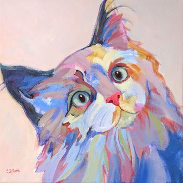 """Question Everything"" -- by Carolee Clark, American; For me, the title makes the painting MORE. By nature, cats are less trusting, less impulsive.  Whereas most dogs can be led almost anywhere. The differences between felines and canines is part of what makes each so delightful."