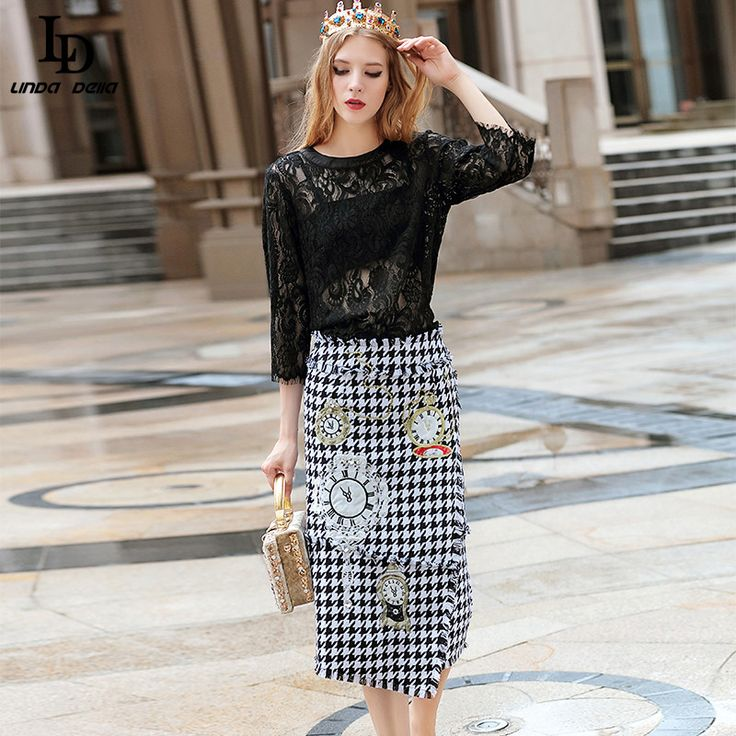 Runway Women Suit Beading Embroidered Lace Tops Houndstooth Skirt suit