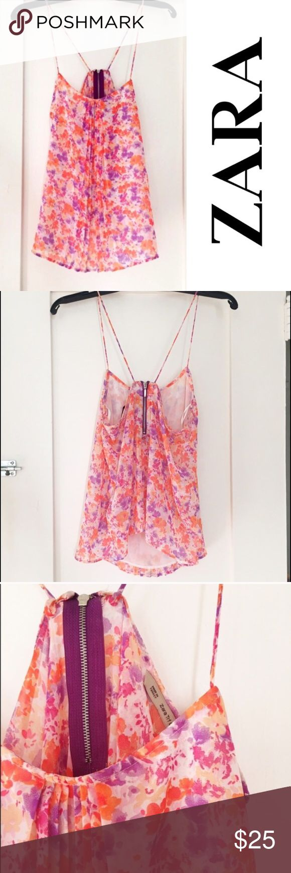 """Zara floral strappy tank top Pretty and flowy tank from Zara. Lined. Small back zip. Lightweight. Poly. Pleats on bodice. Armpit to armpit flat is about 17"""". Length from shoulder is about 26"""". No condition issues. Zara Tops Camisoles"""