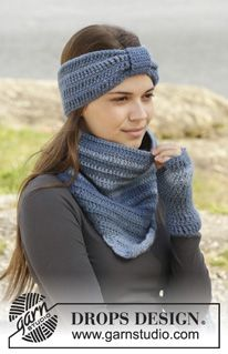 "Winter Blues - Crochet DROPS neck warmer, head band and wrist warmers in ""Big Delight"". - Free pattern by DROPS Design"