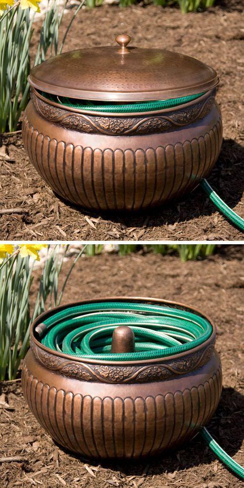 Copper Floral Montego Hose Pot #organize #gardening #yard