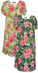 Red Hibiscus Fern Hawaiian MuuMuu, (Kaftan / Caftan), Pull-Over House Dress with Petal Sleeves, pocket, Regular Sizes and Plus Sizes created in Black, Beige and Blue. MauiShirts search box stock number: W-Q-140S-BZ