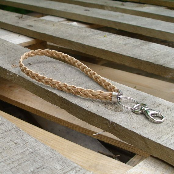 Keychain with natural braided cork cord. by BHDnordic on Etsy