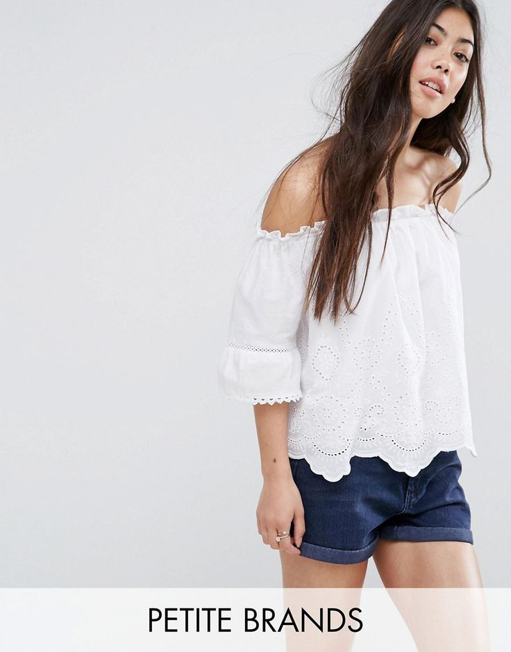 Buy it now. New Look Petite Cutwork Bardot Top - White. Petite top by New Look Petite, Woven cotton, Bandeau neck, Cut-work design, Scalloped hem, Relaxed fit, Machine wash, 100% Cotton, Our model wears a UK 8/EU 36/US 4. High Street heroes New Look introduce New Look Petite ; a trend-led hit of fast fashion in whittled down sizes perfect for smaller frames. Midi dresses, jeans, shorts and outerwear come with clever alterations and shortened hemlines to fit petite girls under 5�3/1.60m…