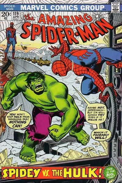 Amazing Spider-Man #119. The Hulk. Cover by John Romita Sr.  #SpiderMan #Hulk #JohnRomita