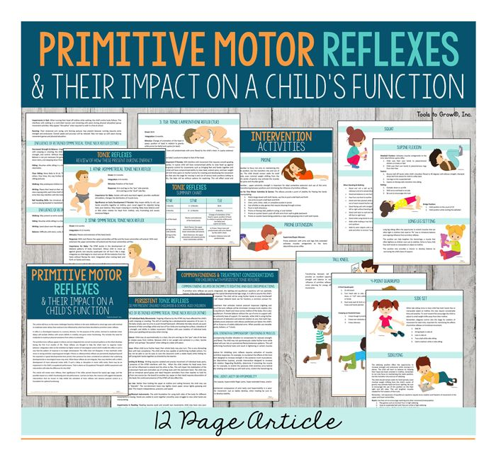 Primitive Reflex Article- This link provides information about the primitive motor reflexes and disorders. This is a great tool for fieldwork because it provides exercise ideas in order to break motor patterns.