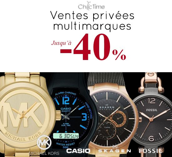A l'occasion de son 4° anniversaire, Chic Time a réuni 4 marques renommées pour 4 ventes privées : bénéficiez jusque 40% de réduction sur cinquante modèles de montres Fossil, Casio, Skagen et Michael Kors.    >>> http://www.chic-time.com/333-vente-privee-chic-time-2014 * Dans la limite des stocks disponibles, jusqu'au 31/10/14, date de clôture des ventes privées.