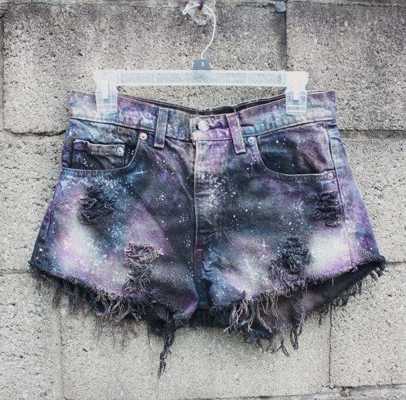 High Waist Galaxy Shorts by mmddyyyy