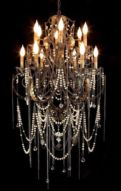 Heirloom Rosary Chandelier.  Shannon Koszyk.    -a diy version of this could be made with faux pearl necklaces and chains.  Seriously?  OMG!
