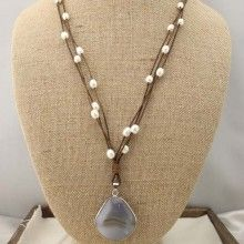 Pearl necklace with natural agate stones ETS-S147