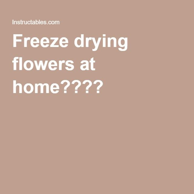 Freeze drying flowers at home????