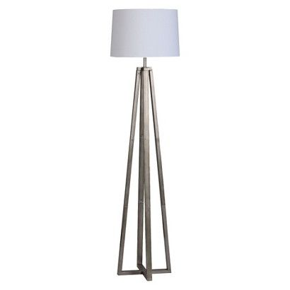 $60  for either side of the tv console.  i would add the same black trim from the drapes on to the lampshade.  Threshold™ Metal Linear Floor Lamp Collection