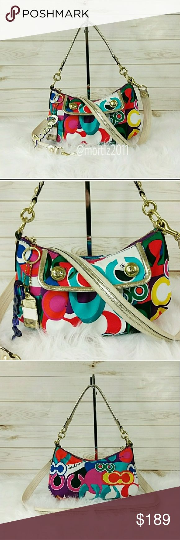 Coach Poppy Pop C Cross Body Coach Poppy Pop C Cross Body This charming poppy pop C cross body purse is so fun to look at. Made with an assortment of bright colors and trimmed with metallic gold leather. It has a main body pouch with a smaller snap closures pouch in front. Like new.  (#A725) Coach Bags Crossbody Bags