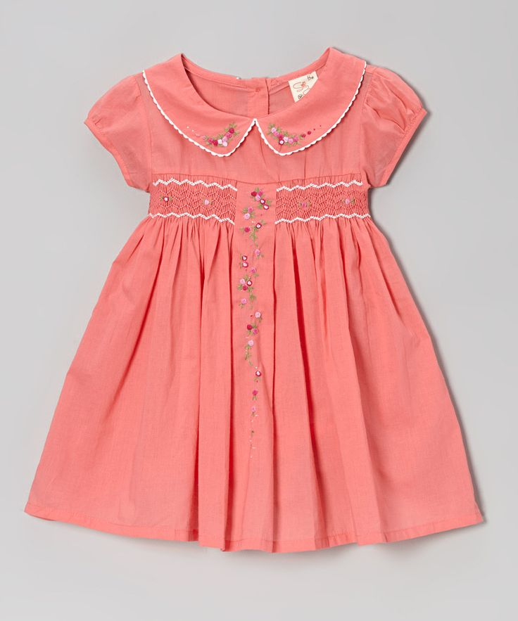 Take a look at this Coral Floral Vine Peter Pan Smocked Dress - Toddler & Girls on zulily today!