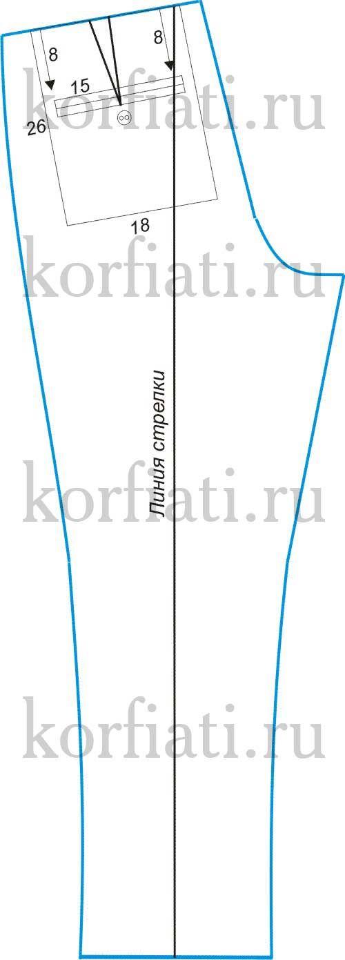 Выкройка мужских льняных брюк кольца для соединения листов