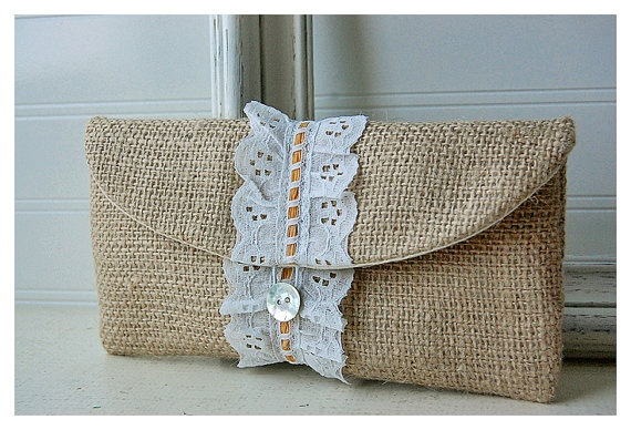 Personalize Bridesmaid burlap clutch purse lace Raffia by hoganfe, 19.00