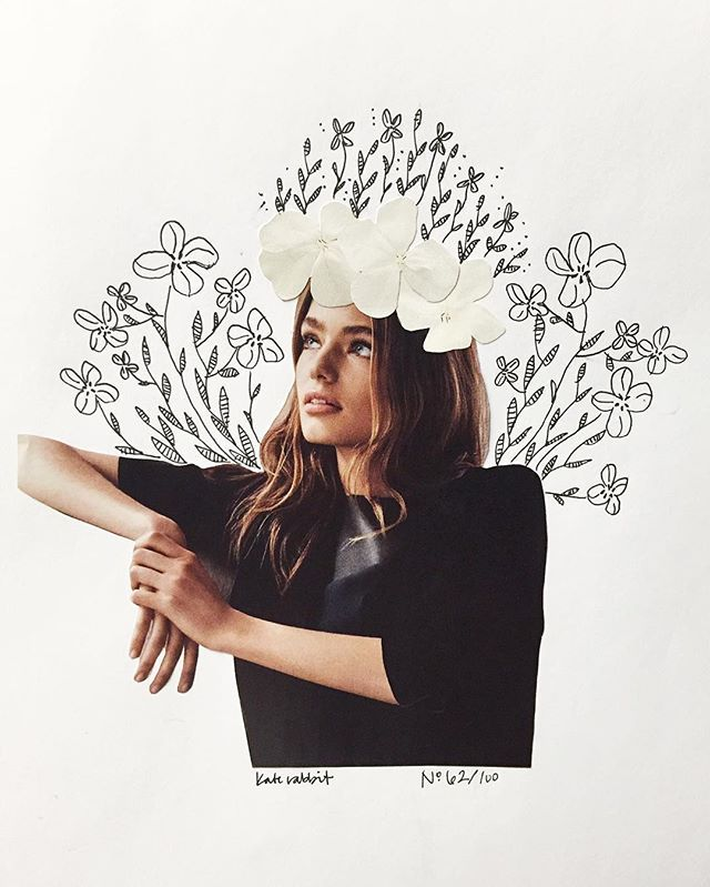 Day 62 of #the100dayproject // monochrome, except for her thoughts // flower collage
