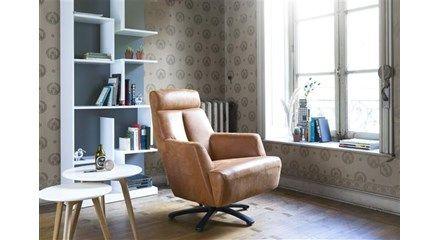 Sunderland, fauteuil met draaivoet - rvs of zwart metaal