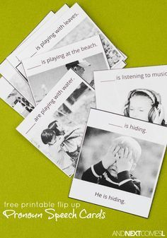Free printable flip up pronoun speech therapy cards for kids - great for kids with autism and hyperlexia from And Next Comes L