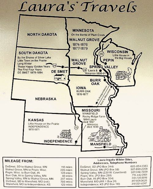 Laura Ingalls Museum Travel Map- a tour of the Laura Ingalls Wilder museums and house sites around the Midwest. Kid World Citizen