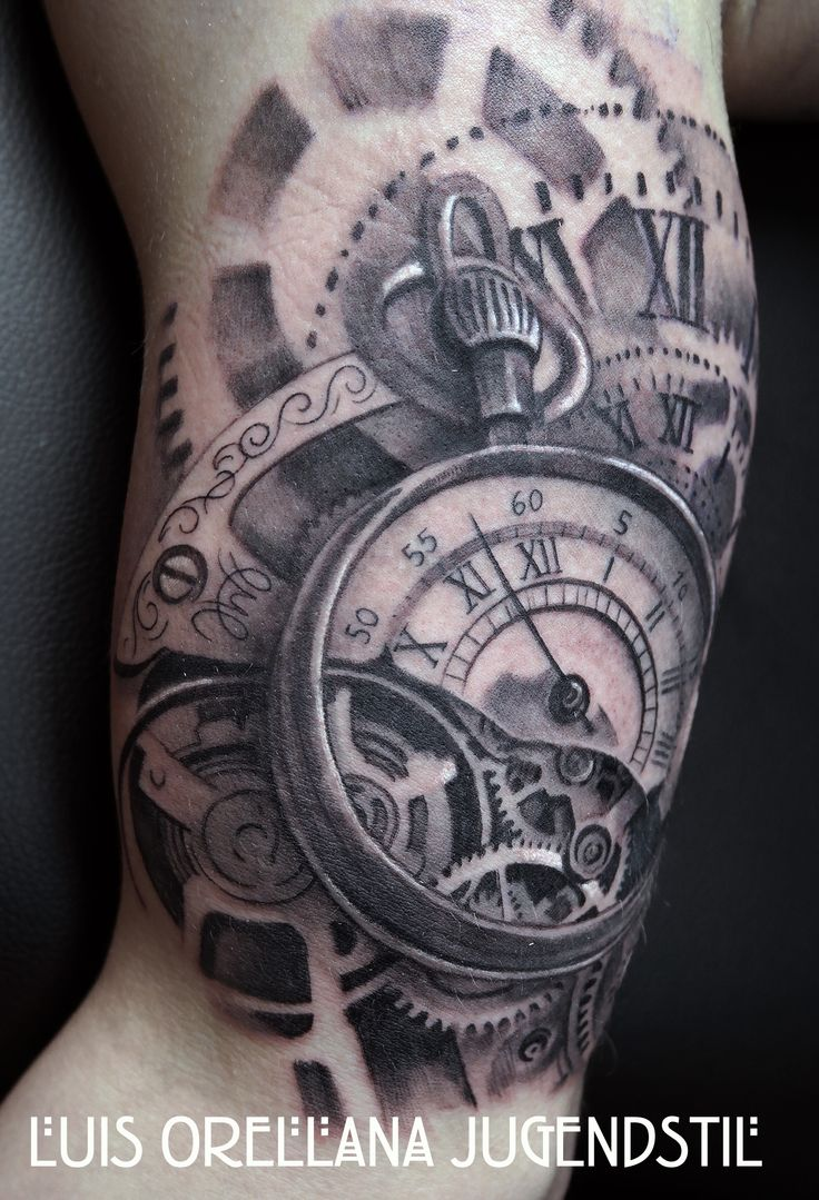 Clock forearm black rose sleeve tattoo - Clock Tattoo Meaning