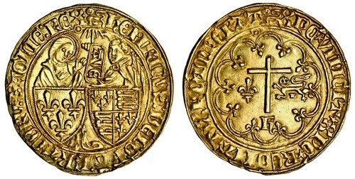 Anglo-Gallic, Henry VI (1422-53), Salut d'or, 3.45g, Rouen, m.m. leopard, shield of France, left, and England, right, Virgin Mary behind, left, angel Gabriel, right, between them a banner surmounted by sun rays, on which ave written downwards, double pellet stops, pellet in annulet on inner circle under last letter of legend, king's name spelt hehricvs, rev. Latin cross within tressure, h below, dividing lis and leopard, mullet stops, pellet in annulet on inner circle under last letter of…