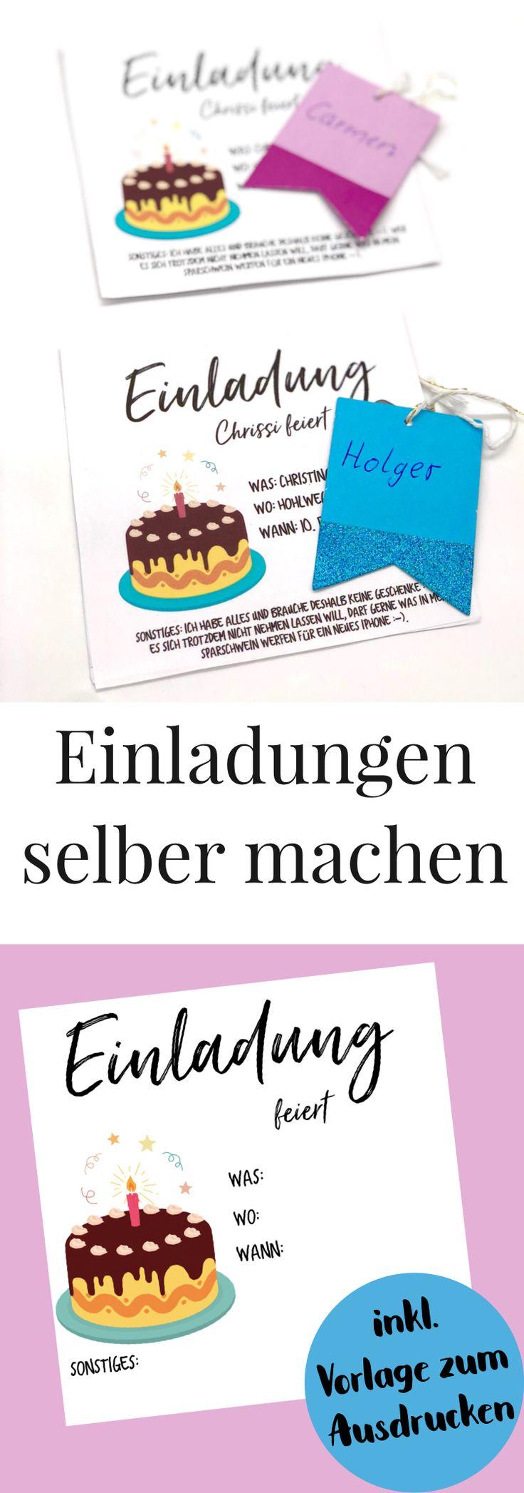 DIY Geburtstagskarte selber machen. So einfach könnt Ihr Euch Einladungskarten selbst gestalten. Mit kostenloser Vorlage zum Ausdrucken. Einladungen zum Geburtstag selber machen, schnell und einfach basteln mit Free Printable.
