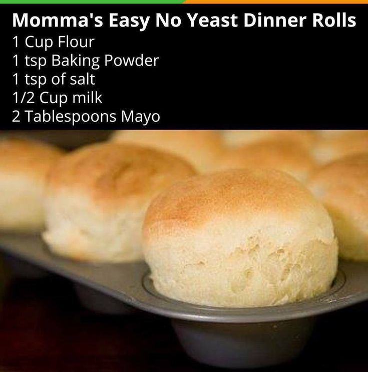 Momma's Easy No Yeast Dinner Rolls.These are so easy to make, all you do is combine all ingredients and spoon into greased muffin pain. The recipe makes 5 rolls. Cook in pre-heated oven at 350 degrees for 15 min or until golden brown. After you take out of oven brush butter on top.