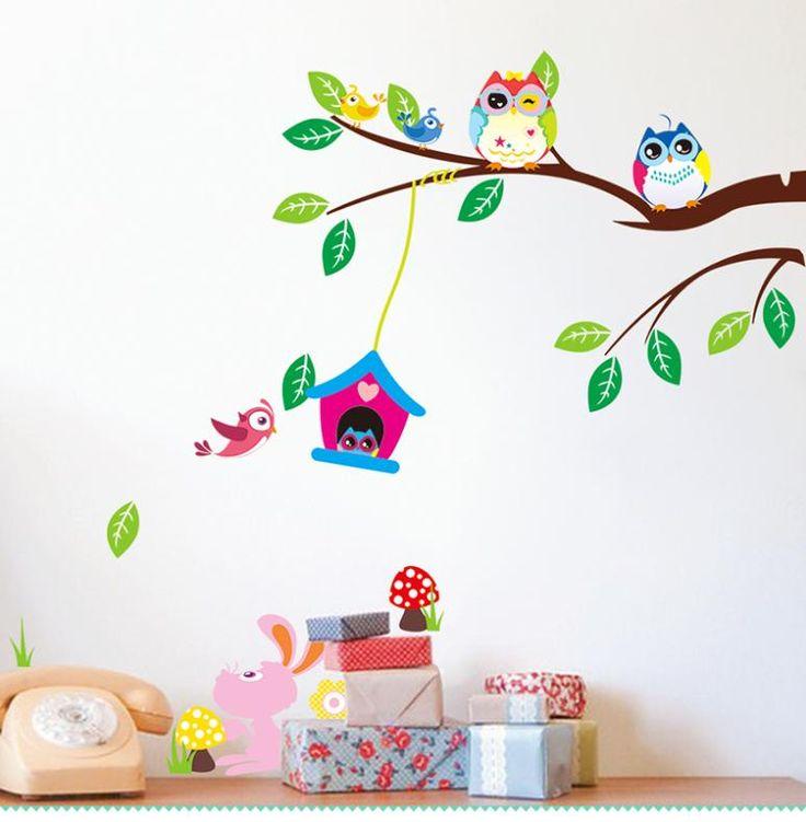 Cartoon gufi saggi albero Uccelli Coniglio Animal wall stickers per la camera dei bambini Home decor nursery per bambini decalcomanie murale arti fiori(China (Mainland))