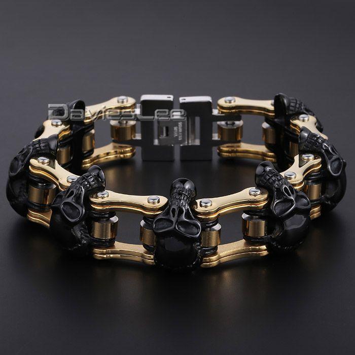 HEAVY Boys Mens Chain Skull Black Gold Silver Tone Biker Motorcycle Link 316L Stainless Steel Bracelet DLHBM62 www.bernysjewels.com #bernysjewels #jewels #jewelry #nice #bags