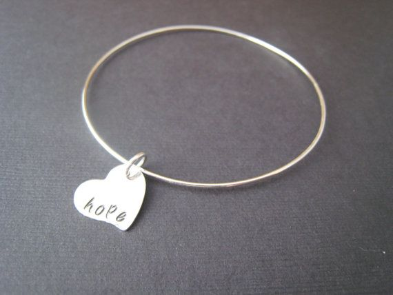 Single Bangle Hand Stamped Personalized by stampedjewellery, $39.00