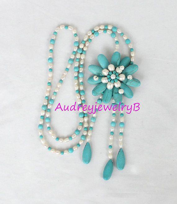 Sorella di fiore collana lunga turchese perle di AudreyjewelryB