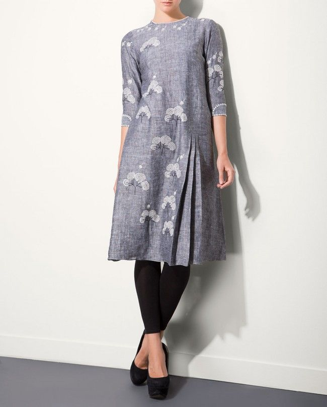 Ash Gray Tunic with Embroidered Tree Motifs