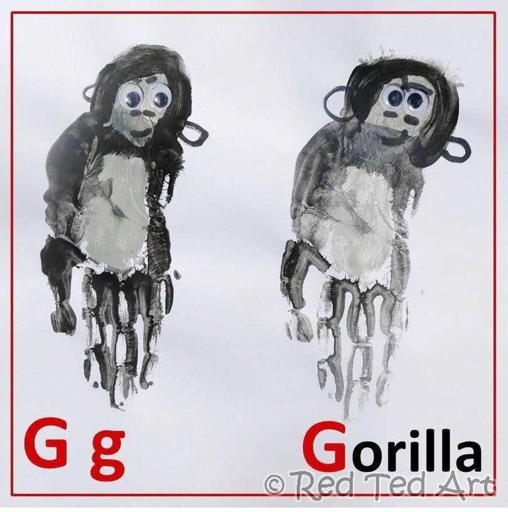 #Handprint #Alphabet continues: G is for gorilla: Prints Art, Hands Prints, Art Crafts, Handprint Crafts, Animal Handprint Alphabet, Handprint Art, Alphabet Crafts, Handprint Gorilla, Gorilla Handprint