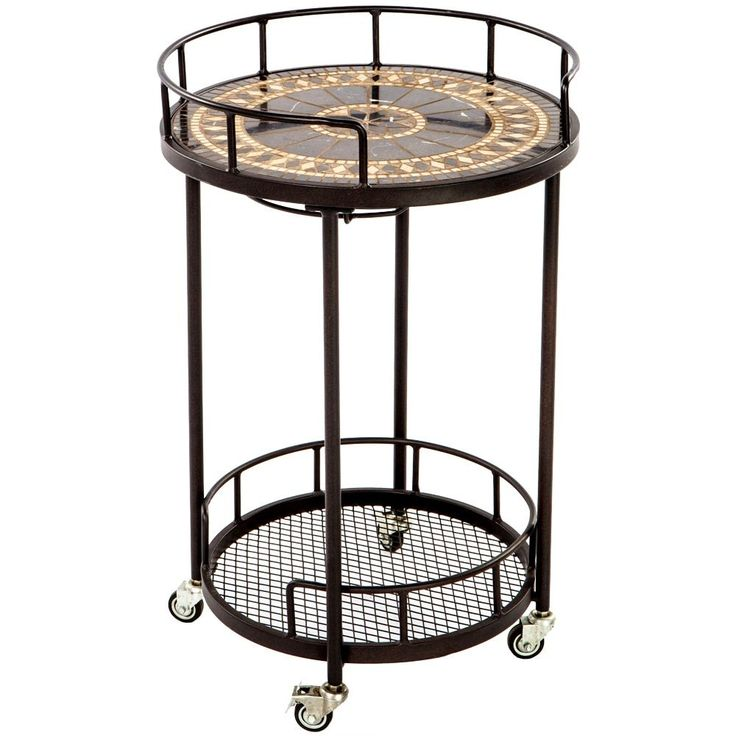 Gibraltar Marble 20-inch Round Mosaic Outdoor Serving Cart with Wine Holders