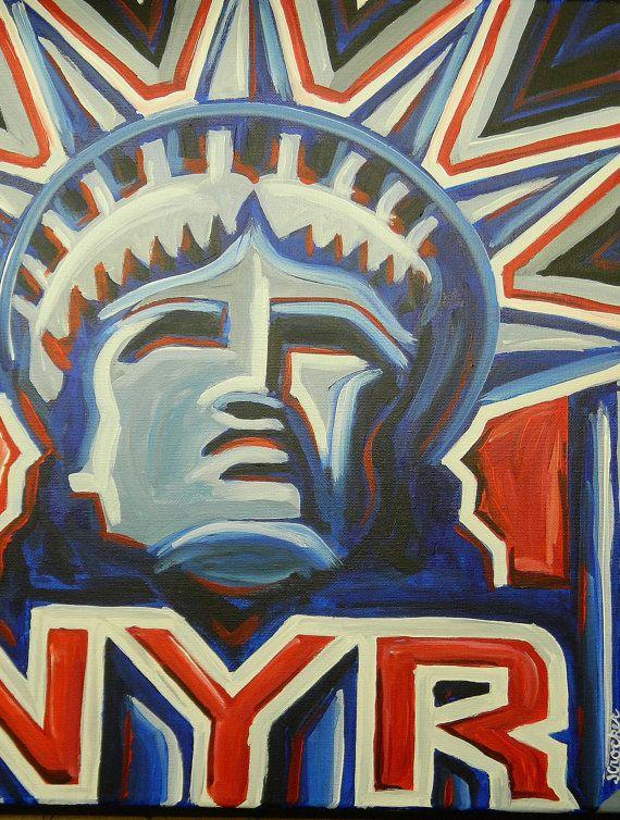 New York Rangers painting sports art hockey by crockerart on Etsy, $50.00