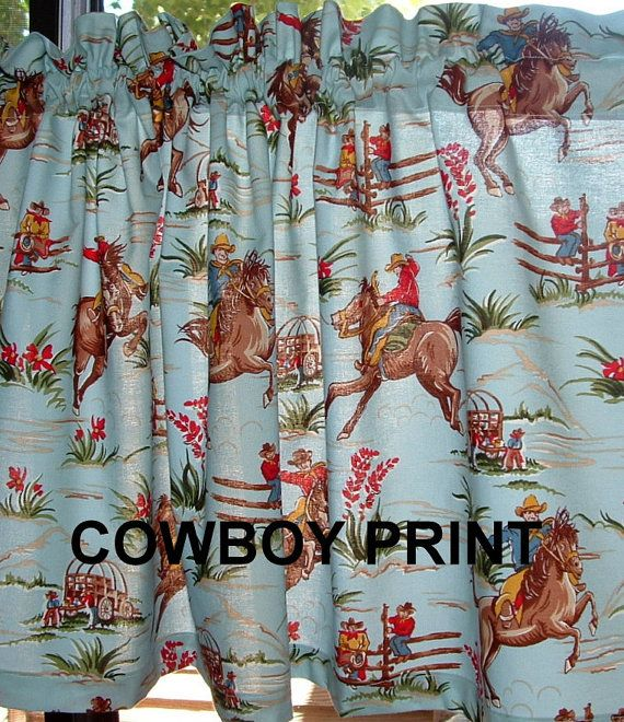 Valance Curtain WESTERN COWBOY PRINT Fabric By AVintageLook, $24.95