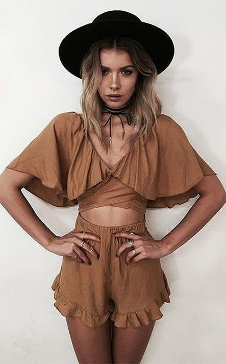 #summer #princesspollyboutique #outfits |  Camel Playsuit
