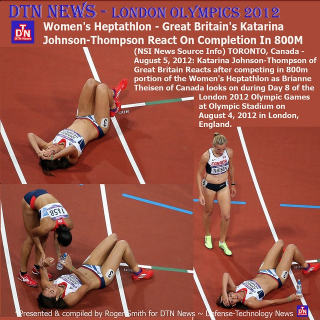 (NSI News Source Info) TORONTO, Canada - August 5, 2012: Katarina Johnson-Thompson of Great Britain Reacts after competing in 800m portion of the Women's Heptathlon as Brianne Theisen of Canada looks on during Day 8 of the London 2012 Olympic Games a london olympics 2012