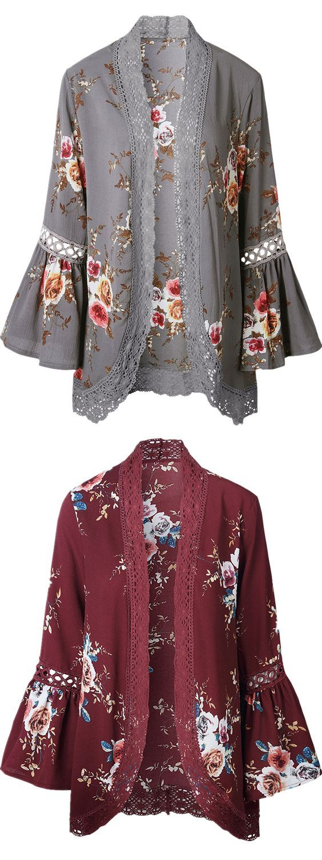 Lace Panel Flare Sleeve Kimono