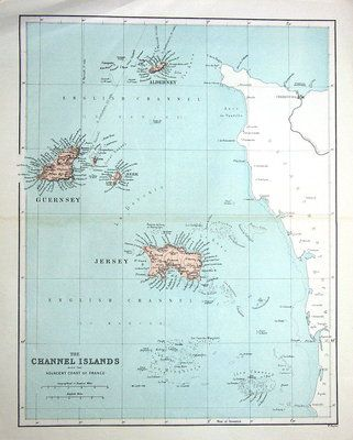THE CHANNEL ISLANDS WITH THE ADJACENT COAST OF FRANCEEngraved by W Hughes and published by Virtue Co London 1868An attractive coloured antique map of