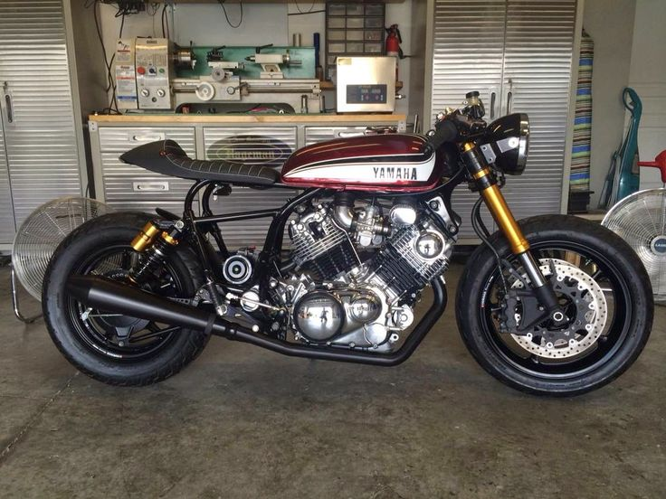 Yamaha Virago Cafe Racer from Hageman Motorcycles   Who says a 95 virago is an ugly duckling, from this, to this. R1 front end, Rd350 ...