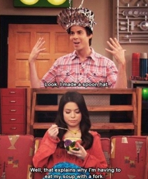 Why does Spencer use weird stuff to build stuff like a spoon hat?
