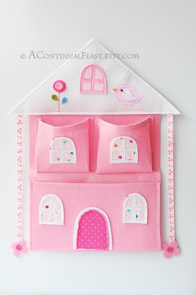 Pink House Bow Holder and wall pocket.
