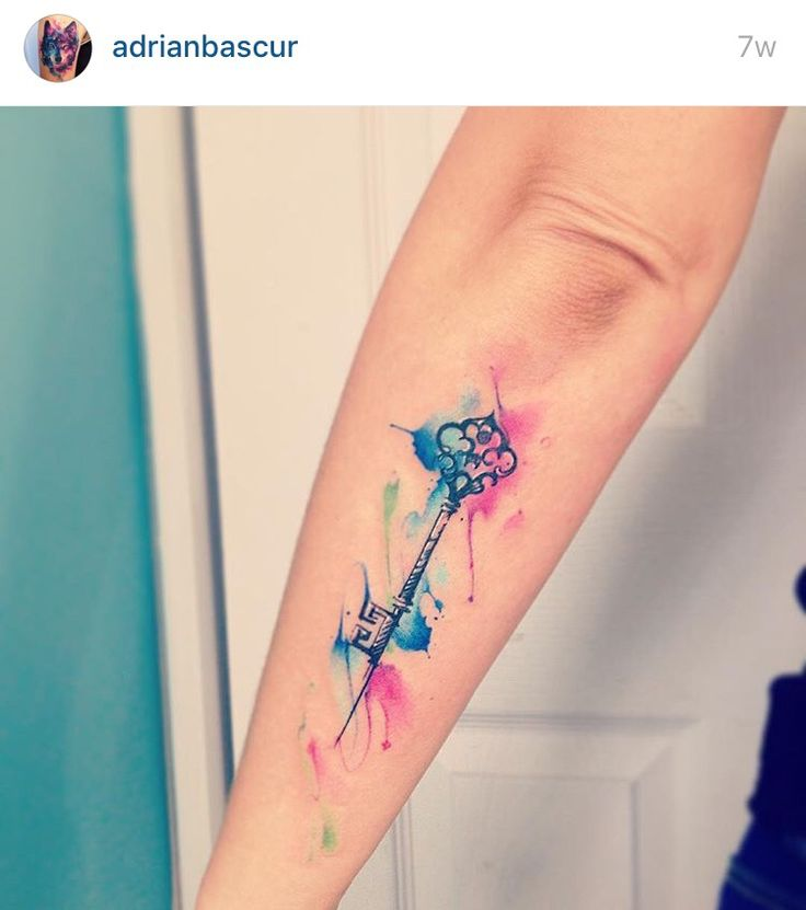 Watercolor key tattoo                                                                                                                                                      More