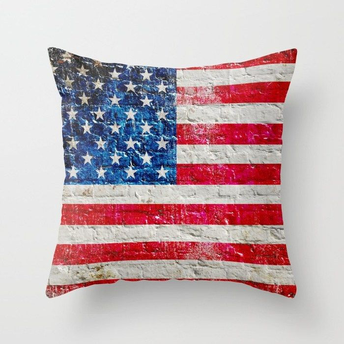 Pin By Freedomgiftsusa On Patriotic Themed Bedding And Pillows Old Brick Wall Throw Pillows American Flag