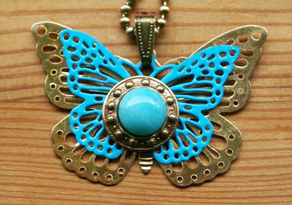 Amazonite Butterfly Pendant Aqua Butterfly Necklace