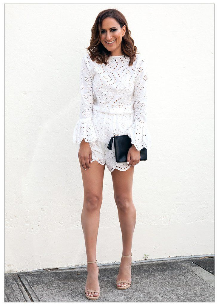 HOLLYWOOD NIGHTS BRODERIE PLAYSUIT #CLOTHING #NOVEMBER #white #playsuit swiish by sally obermeder $89.95