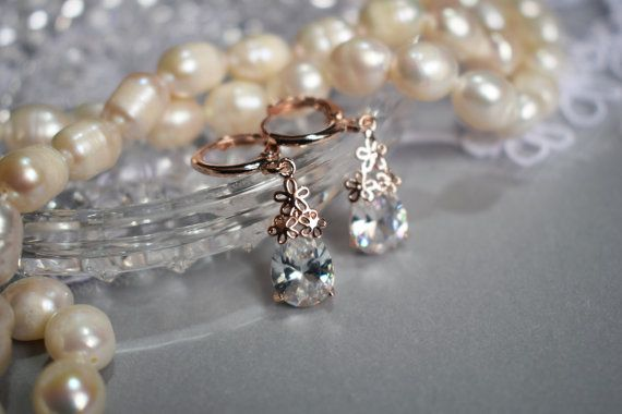 Rose Gold Wedding Earring Clear Cubic Zirconia by Mkedesignwedding