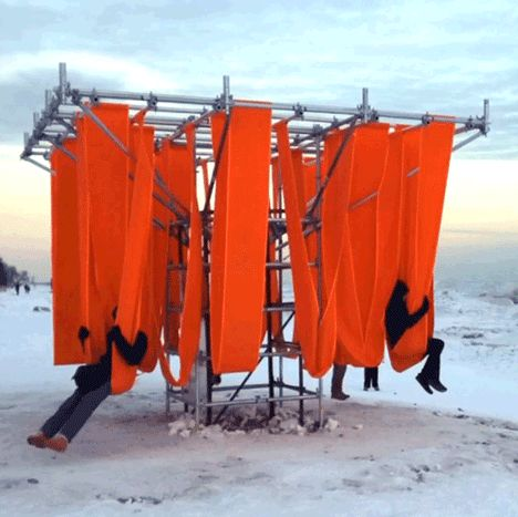 Designers convert lifeguard towers into winter pavilions for Toronto's frozen beaches.